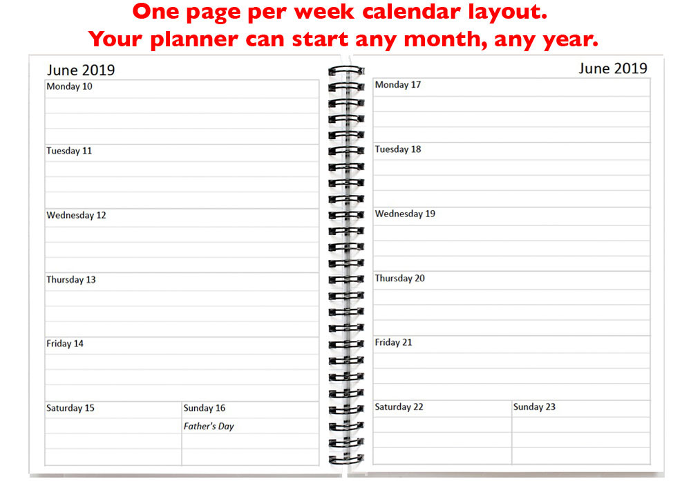 personalized 2 year weekly plannercalendar